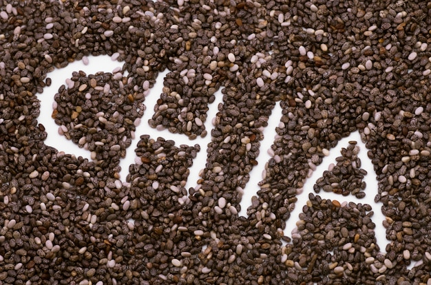 Le mot d'inscription graines de chia Photo Premium