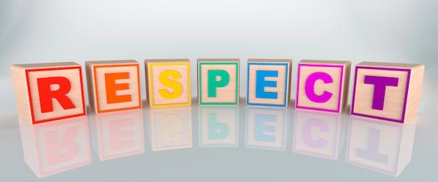 Mot De Respect Fait Avec Des Cubes En Bois, Aux Couleurs Arc-en-ciel Photo Premium