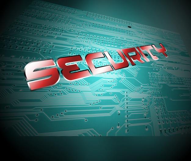 Mot de sécurité avec des lettres sur la carte de circuit intégré. concept de sécurité numérique Photo Premium