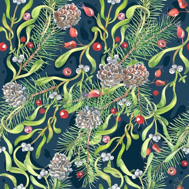 Motif Aquarelle De Noël, Fleurs D'hellébore, Gui, Fruits Rouges Photo Premium