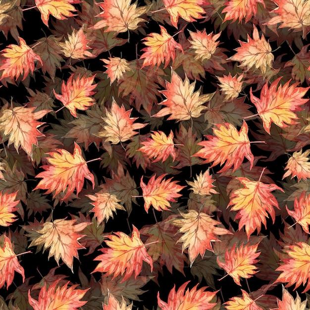 Motif Aquarelle Transparente De Feuilles D'érable Automne Photo Premium
