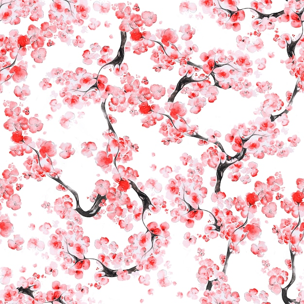 Motif De Fleurs De Cerisier Photo Premium
