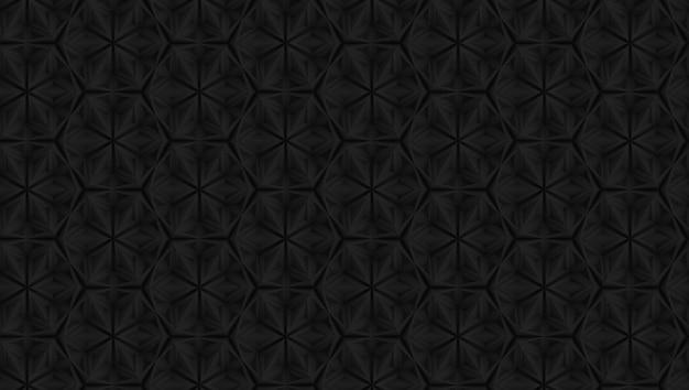 Motif géométrique sombre en trois dimensions avec des fleurs à six pointes Photo Premium