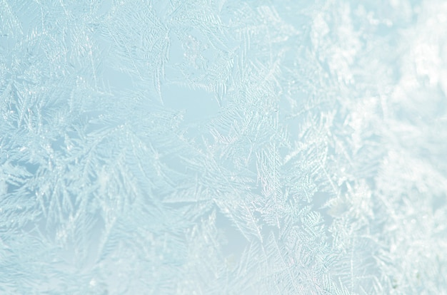Motif Naturel Glacial Sur La Fenêtre De L'hiver. Photo Premium