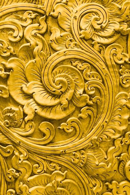 Motif or thaï artisanal culture traditionnelle beaux arts décoration temple Photo Premium