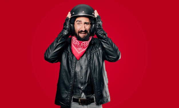 Motocycliste pleure triste Photo Premium