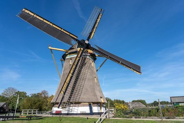 Moulin à Vent Entouré D'arbres Verts Et De Végétation Sous Un Ciel Bleu Clair Photo gratuit