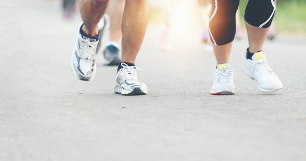 Mouvement flou de la course au marathon Photo Premium