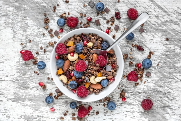 Muesli Au Chocolat Fait Maison Ou Granola Dans Un Bol Avec Une Cuillère, Des Baies, Des Fruits Secs Et Des Noix Photo Premium