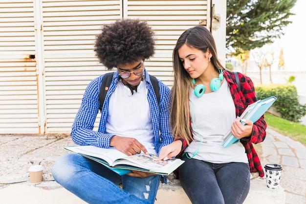 Multi ethnique jeune couple étudie ensemble dans le parc Photo gratuit