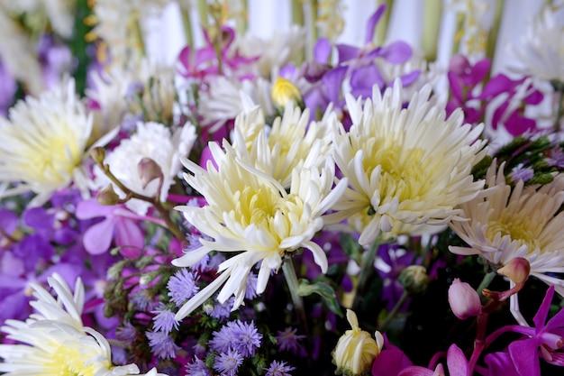 Multi fleur sur mur Photo Premium