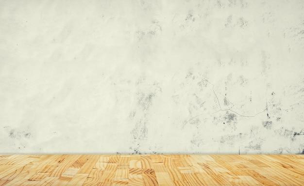 Mur en béton blanc et plancher en bois blanc Photo Premium
