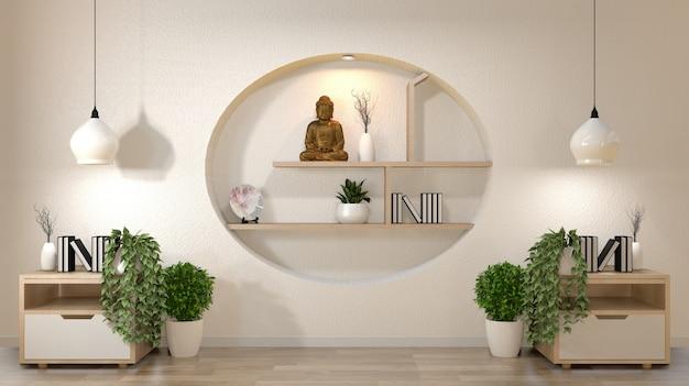 Mur blanc maquette salle vide avec livre et vase et plantes sur meuble, décoration sur style japonais design étagère murale. Photo Premium