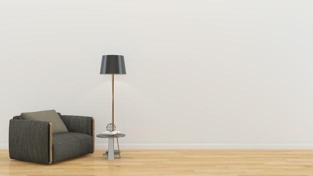 Mur bois parquet interieur sofa chaise lampe interieur 3d salon Photo Premium