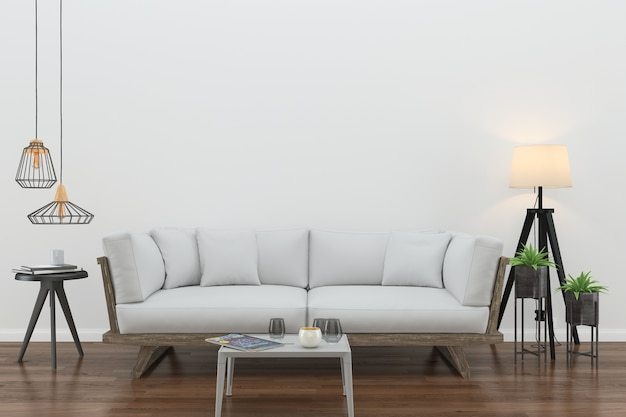 Mur bois plancher interieur sofa chaise lampe interieur 3d salon Photo Premium
