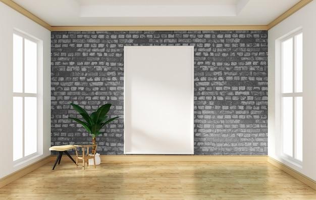 Mur de briques gris design d'intérieur salle vide et plancher en bois mock up. rendu 3d Photo Premium