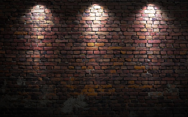Mur De Briques Avec Des Lumières Photo Premium