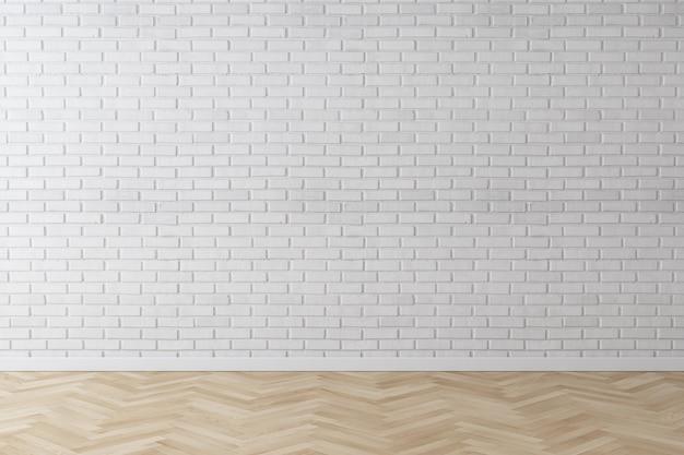 Mur de briques de mur blanc avec plancher de bois en chevrons Photo Premium