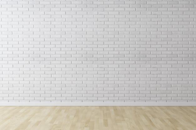 Mur de briques de mur blanc avec plancher de bois Photo Premium