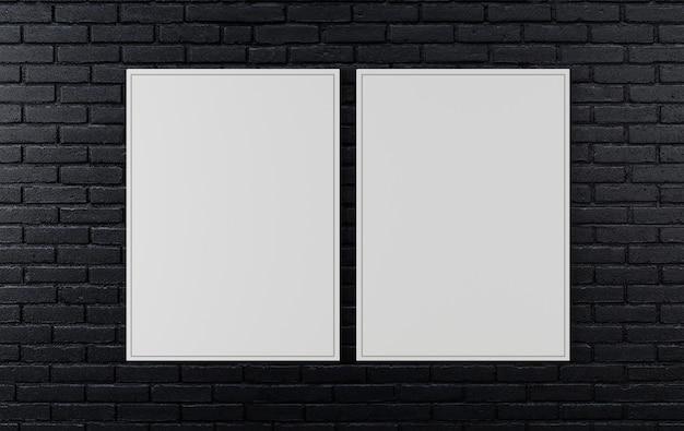Mur De Briques Noires, Fond Sombre Pour La Conception, Maquette D'affiche Sur Le Mur, Rendu 3d Photo Premium