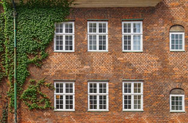 Mur de briques avec six fenêtres à copenhague Photo Premium