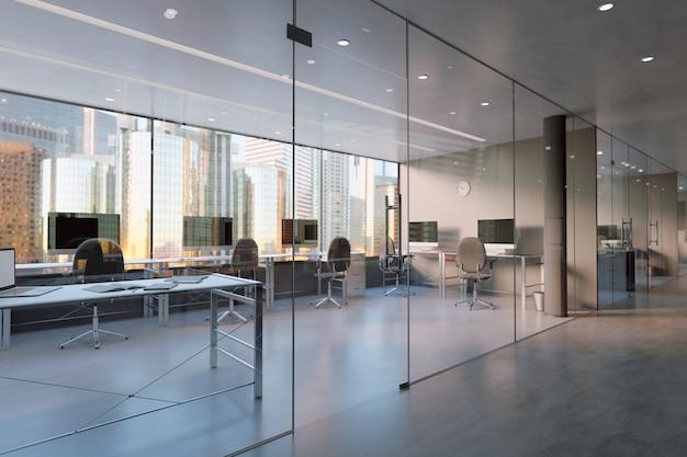 Mur de bureau en verre - rendu 3d Photo Premium