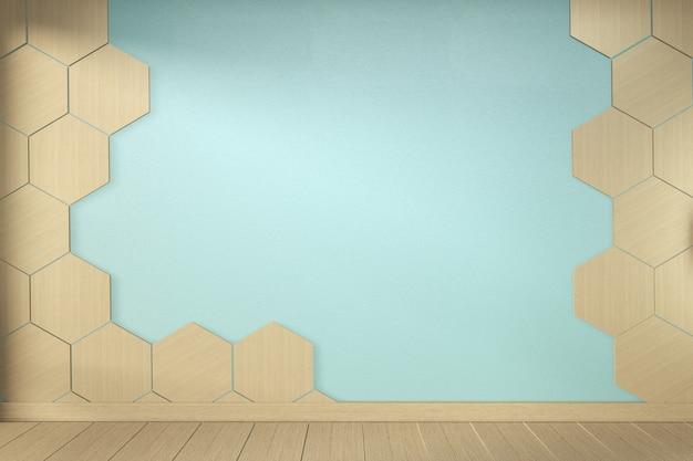 Mur De Carreaux Hexagonaux Sur Salle De Menthe Vide Sur La Conception Intérieure De Plancher En Bois. Rendu 3d Photo Premium