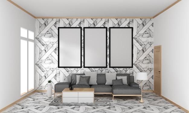 Mur de carrelage en granit du salon moderne japonais sur un sol en granit, rendu 3d Photo Premium