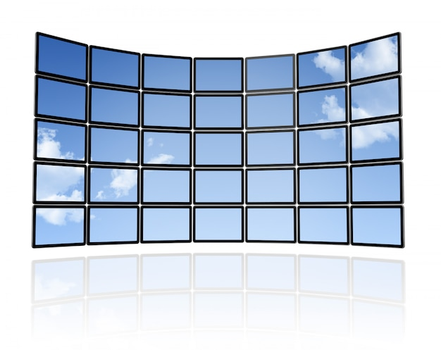 Mur de ciel 3d des écrans de télévision à écran plat, isolé sur blanc. avec 2 chemins de détourage: un tracé de scène global et un tracé de détourage pour les écrans afin de placer vos motifs ou vos images Photo Premium