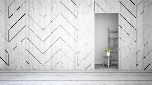 Mur décorer et fleur blanche à la maison ou appartement - rendu 3d Photo Premium