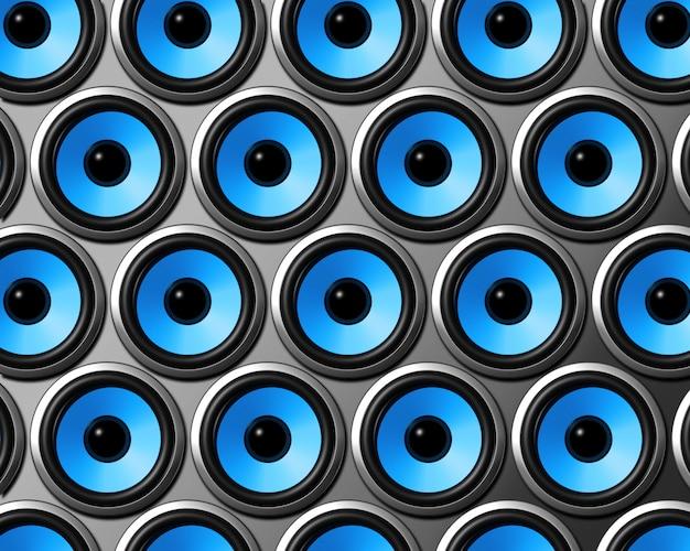 Mur d'enceintes bleu Photo Premium