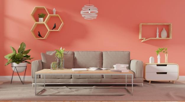 Mur intérieur du salon avec canapé capitonné rose Photo Premium