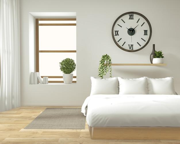 Mur intérieur maison mock up avec lit en bois, rideaux et décoration de style japonais dans la chambre zen Photo Premium
