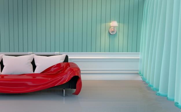 Mur de menthe - salon avec canapé et lampe. rendu 3d Photo Premium