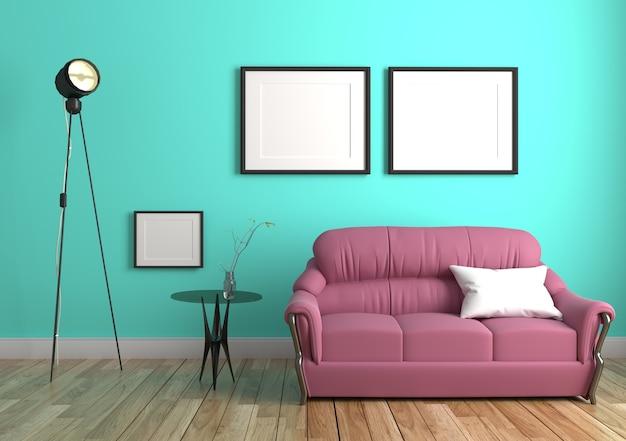 Mur de menthe verte à l'intérieur du plancher de bois. rendu 3d Photo Premium