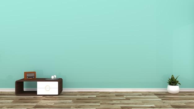 Mur de menthe verte sur plancher en bois. rendu 3d Photo Premium