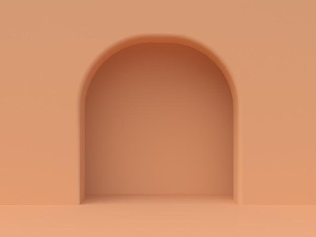 Mur Orange Minimal Porte Cintrée Rendu 3d Photo Premium