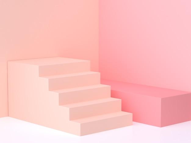 Mur pastel rose-crème pastel d'angle escalier d'angle rendu 3d Photo Premium