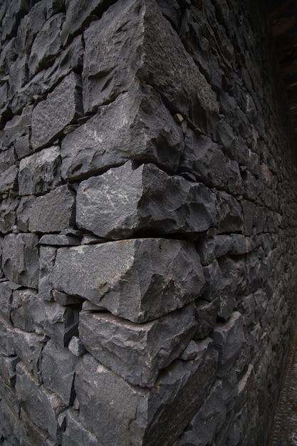 Mur de pierre gris foncé Photo Premium