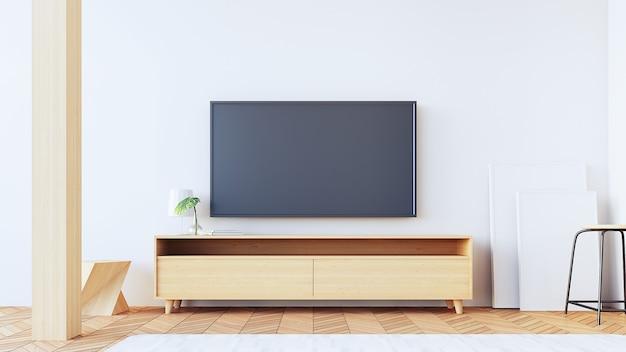 Mur tv dans le salon / rendu 3d Photo Premium