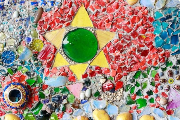Mur De Verre Coloré Et Carrelage Fond De Texture, Art De La Mosaïque Photo Premium