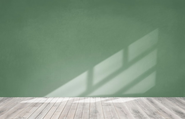 Mur Vert Dans Une Pièce Vide Avec Un Plancher En Bois Photo gratuit