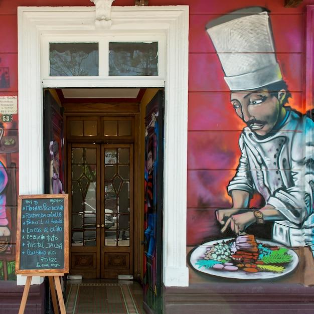 Murale Sur Le Mur D'un Restaurant, Calle Antonia Lopez De Bello, Santiago, Région Métropolitaine De Santiago, Photo Premium