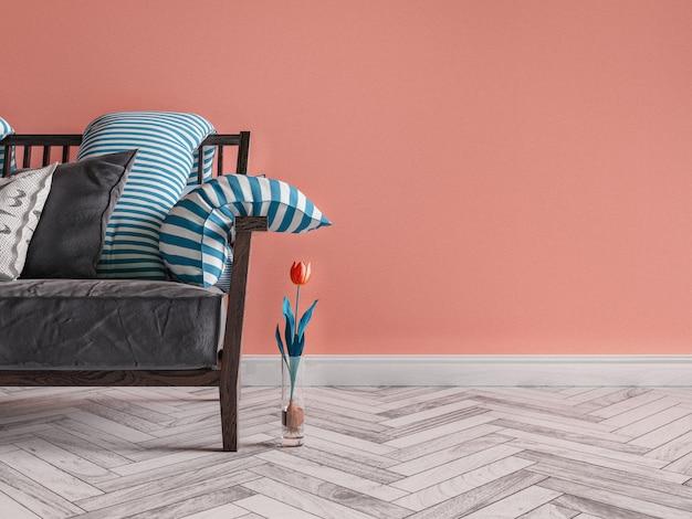 Murs orange sur le canapé gris. Photo Premium