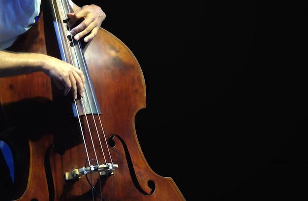 Le musicien joue de la contrebasse. Photo Premium