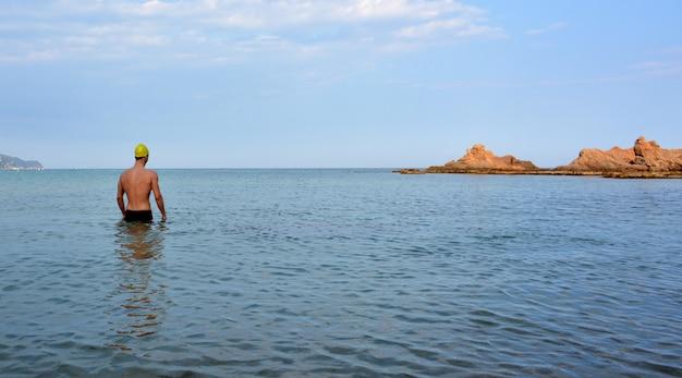 Nageur, entraînement, plage Photo Premium