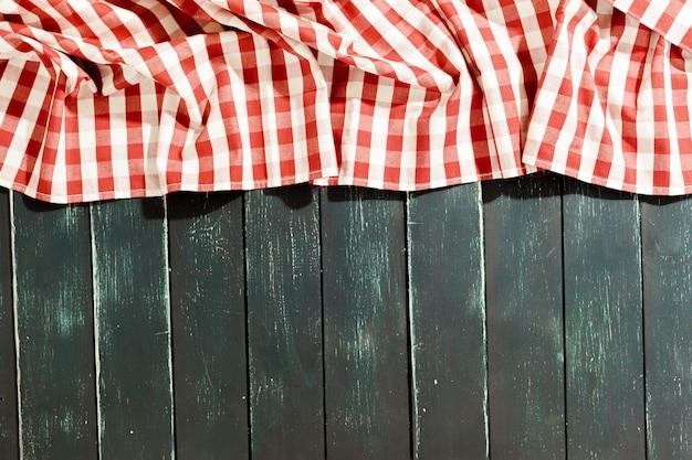 Nappe sur table en bois noir Photo Premium