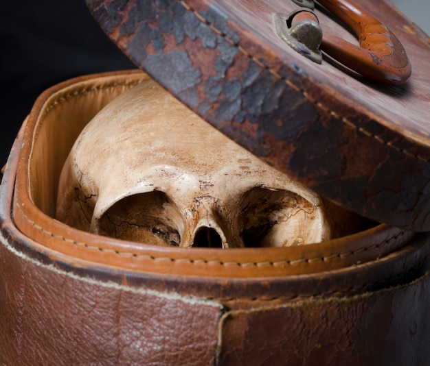 Nature morte avec crâne humain sont placés dans une vieille boîte en cuir isolée sur fond noir Photo Premium