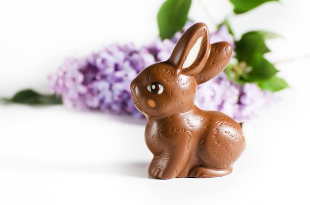 Nature morte avec le lapin de pâques au chocolat et des fleurs lilas. Photo Premium