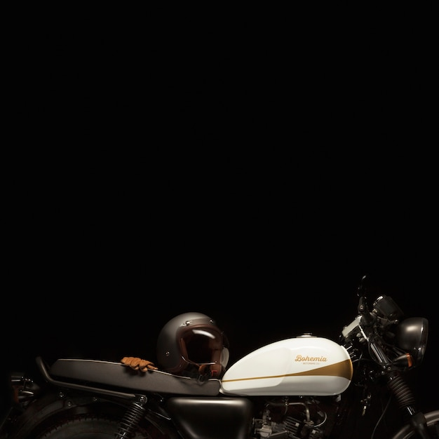Nature morte d'une moto de style café racer Photo gratuit